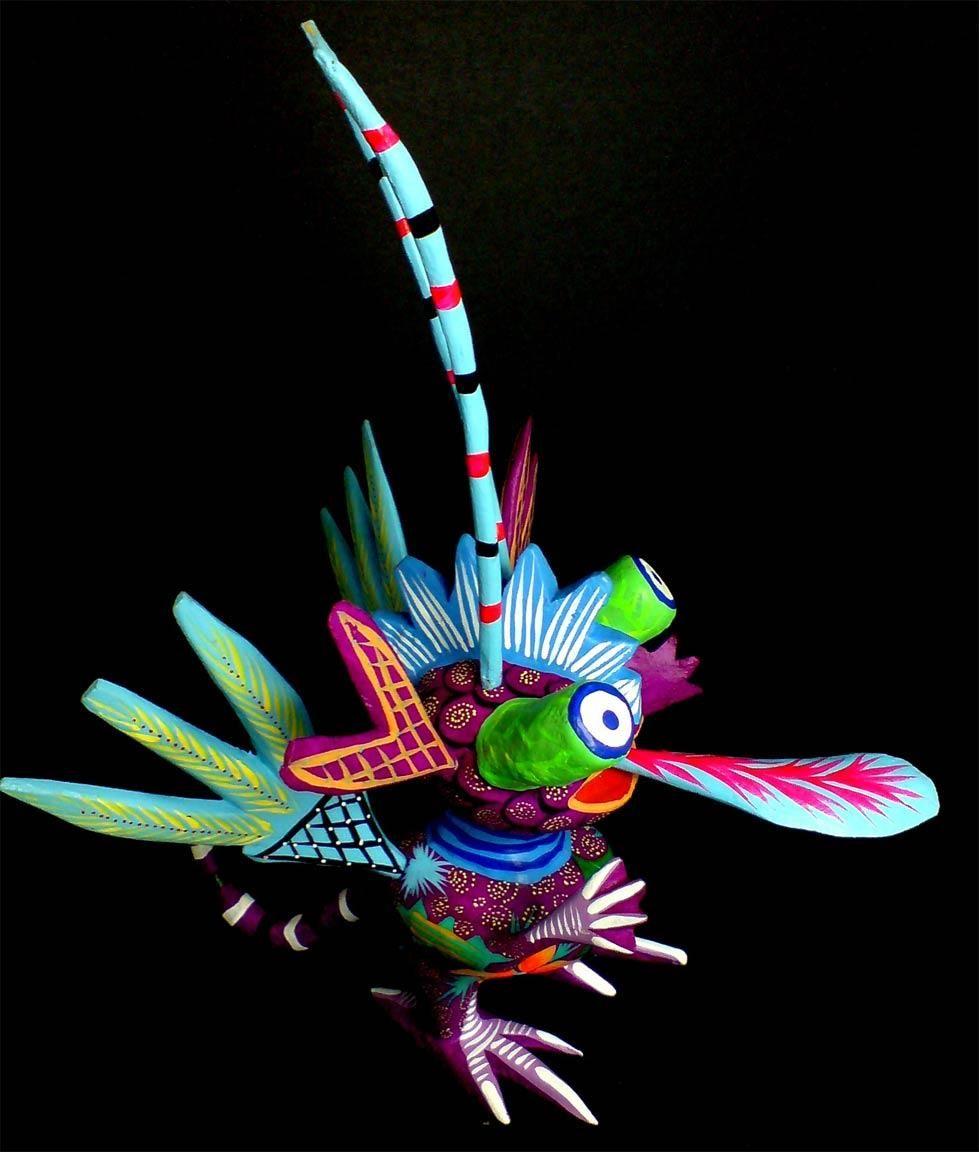 Este es un alebreije. Pedro Linares, una persona de mucho talento, les dio el nombre de alebrijes a estas artesanías inspirado en sus sueños