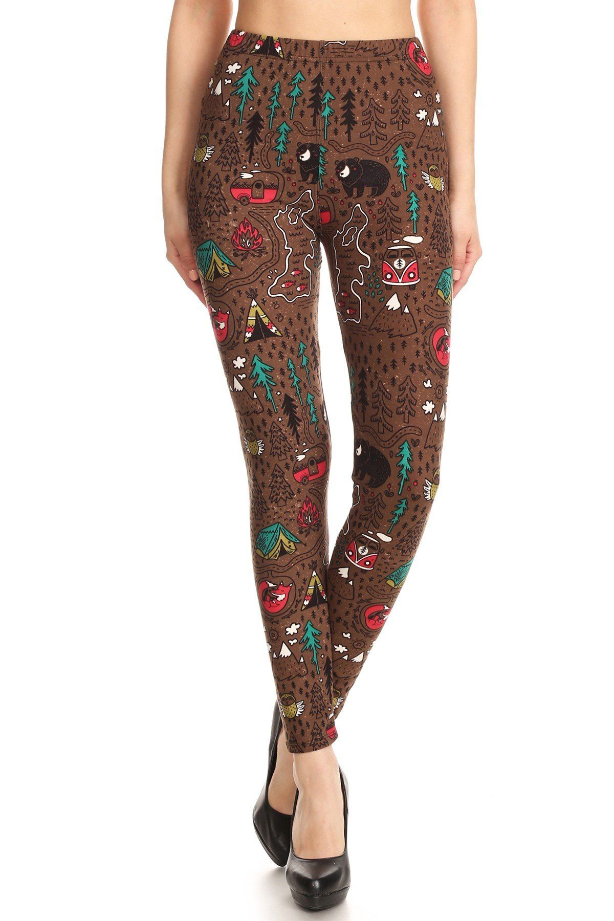 f1053647106ce Women's Camping Leggings Bears Fox Camper Owl Happy Camper Legging – MomMe  and More