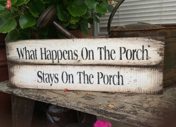 Pallet Wood Sign for the porch. Distressed for an aged appearance. Ready for hanging. Please note that each sign is different. Some are made with a single pallet board and some I used two. They are all approximately 20 x 6.