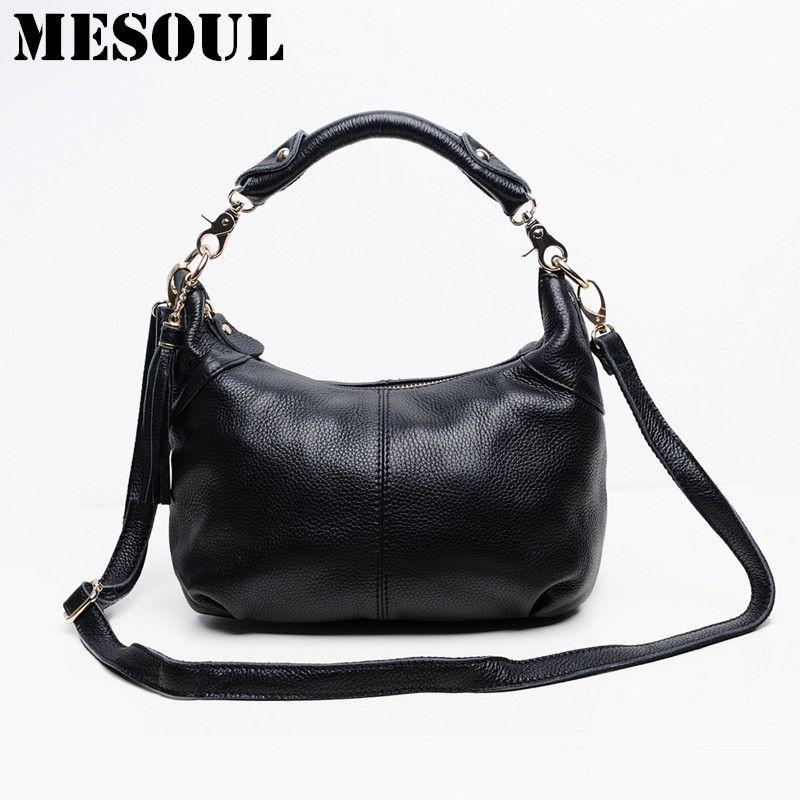 4c403d154a Candy color Fashion women Bags 100%Genuine Leather Women s Shoulder Handbag  hobos diagonal Purse Satchel cowhide ladies soft bag