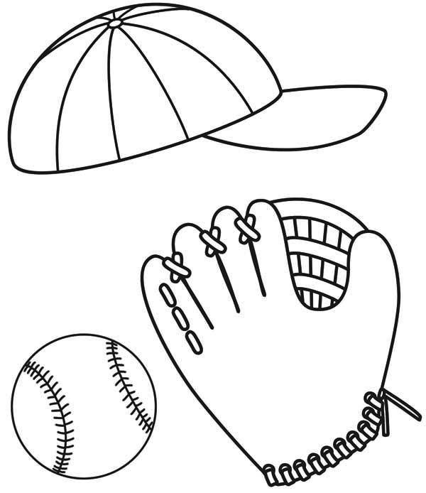 Baseball Baseball Cap Glove And Ball Coloring Page Baseball
