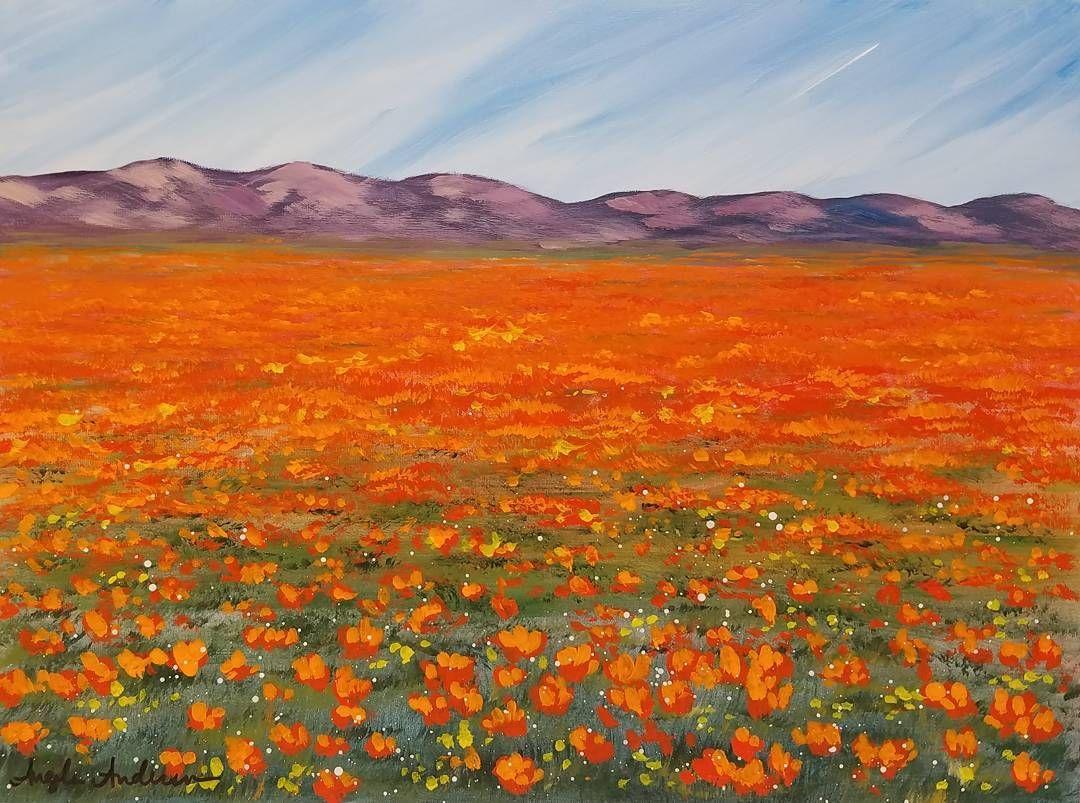 Easy Desert Poppies Landscape Acrylic Painting Tutorial By Angela Anderson Desert Wildflowers Desert Painting Landscape Painting Lesson Landscape Paintings