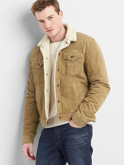 Gap Mens Sherpa-Lined Icon Cord Jacket Caramel Khaki Size XXXL