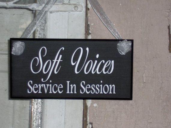 Soft Voices Service In Session Wood Vinyl Sign   Home Business Office Salon  Spa Massage Therapist Quiet Please Plaque Door Modern Sign