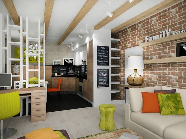 1 Zimmer Wohnung Einrichten Regal Raumteiler Küche Holzfronten Grüne Akzente
