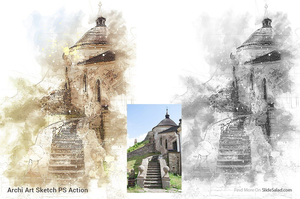 Archi Art Sketch Photoshop Action V2 Photoshop Actions Art Sketches