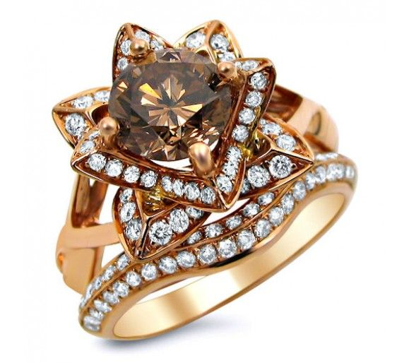 20ct brown round diamond lotus flower engagement ring set 14k rose gold - Chocolate Diamond Wedding Ring