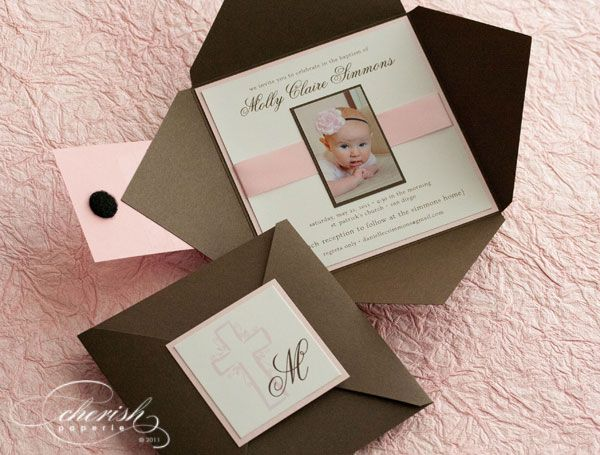 Pink Lace Christening Invitations /& Envelopes Personalised Party Prints
