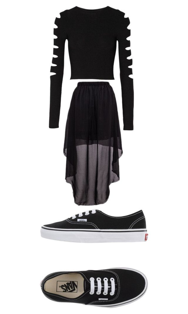 """""""all black"""" by htaylor31 on Polyvore featuring Cushnie Et Ochs and Vans"""