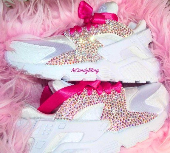 Crystal Swarovski White Nike Huarache Womens Sneakers from AiCandyBling