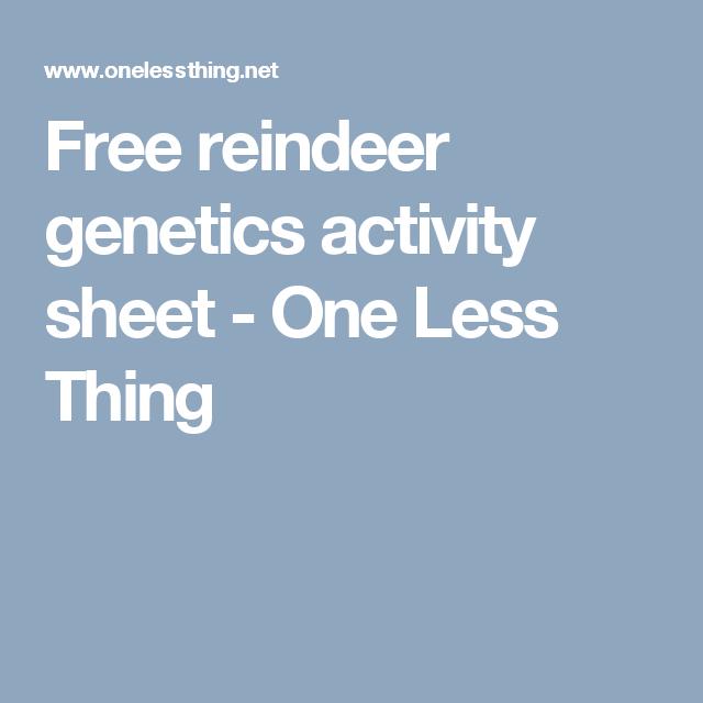 Free reindeer genetics activity sheet | Genetics, Activities and ...