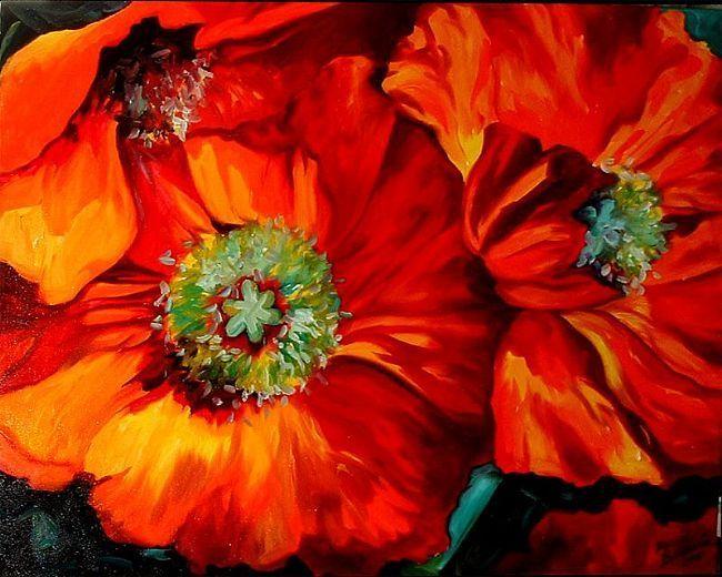 Poppy Ring Of Fire Tablolar Cicek Guller