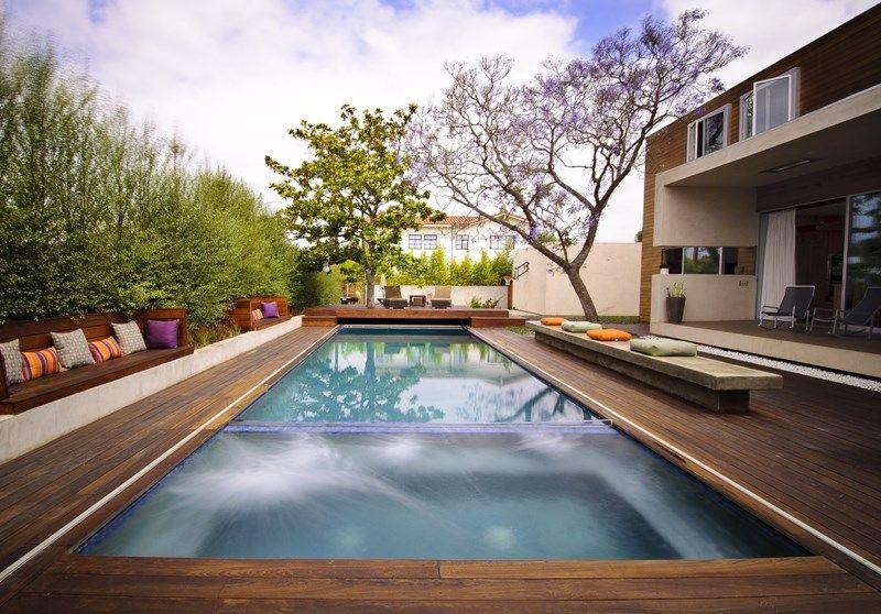 Wood Deck Swimming Pool Modern Pool Z Freedman Landscape Design Venice, CA