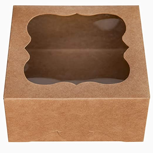Amazon Com One More 6 X6 X3 Brown Bakery Boxes With Pvc Window For Pie And Cookies Boxes Small Natural Craft Paper Box 6x6 Bakery Boxes Cookie Box Pvc Windows