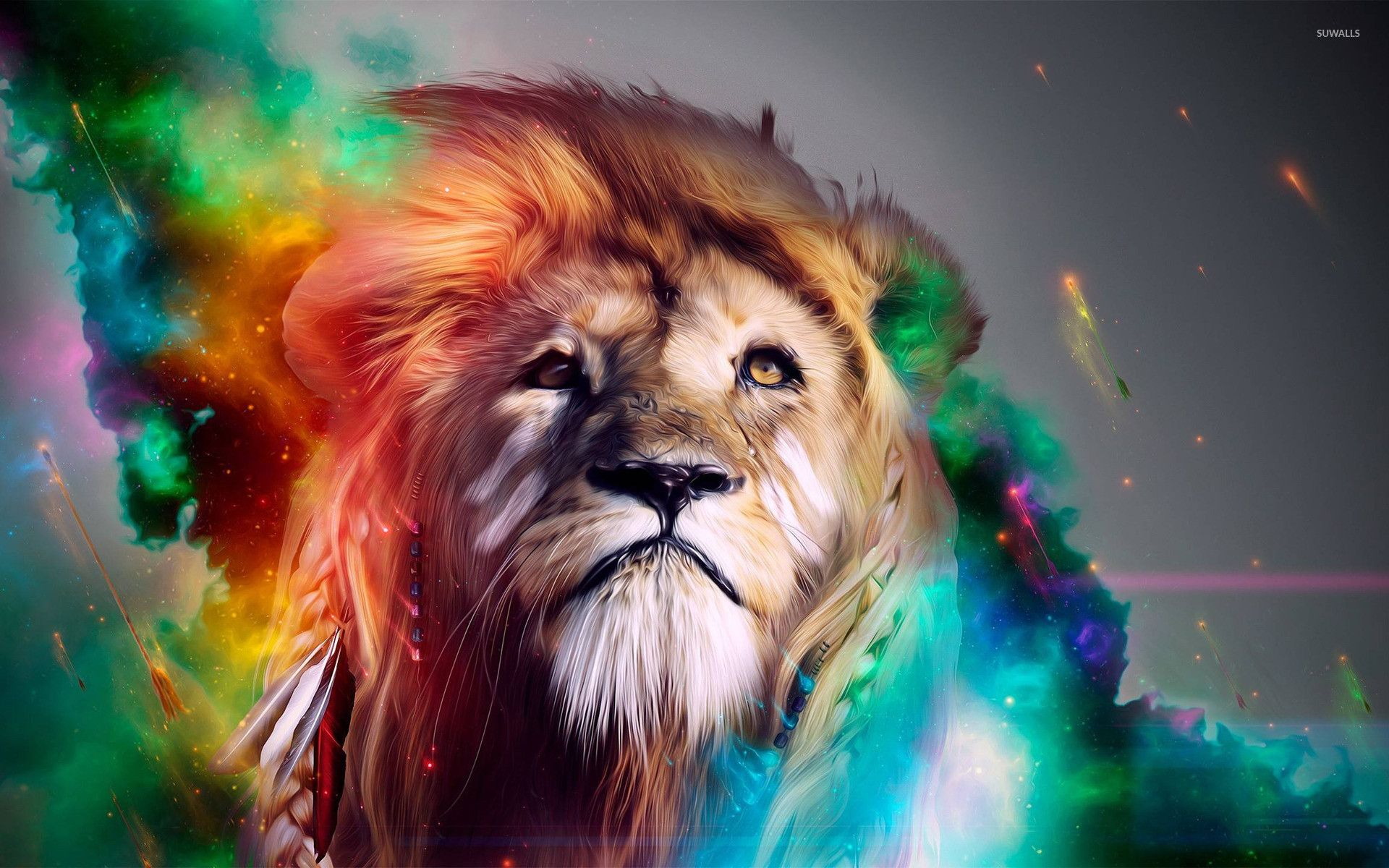 68 Colorful Lion Wallpapers On Wallpaperplay Nel 2020