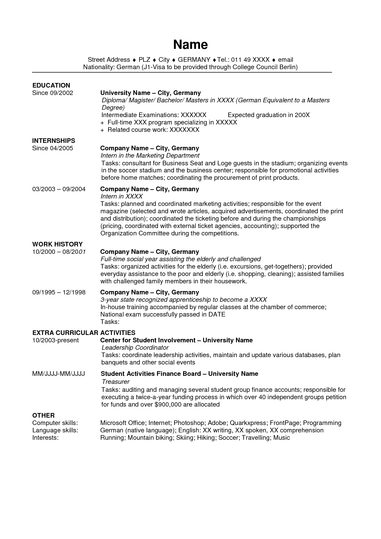 Resume Templates Usa Resume Templates Resume Cover Ted