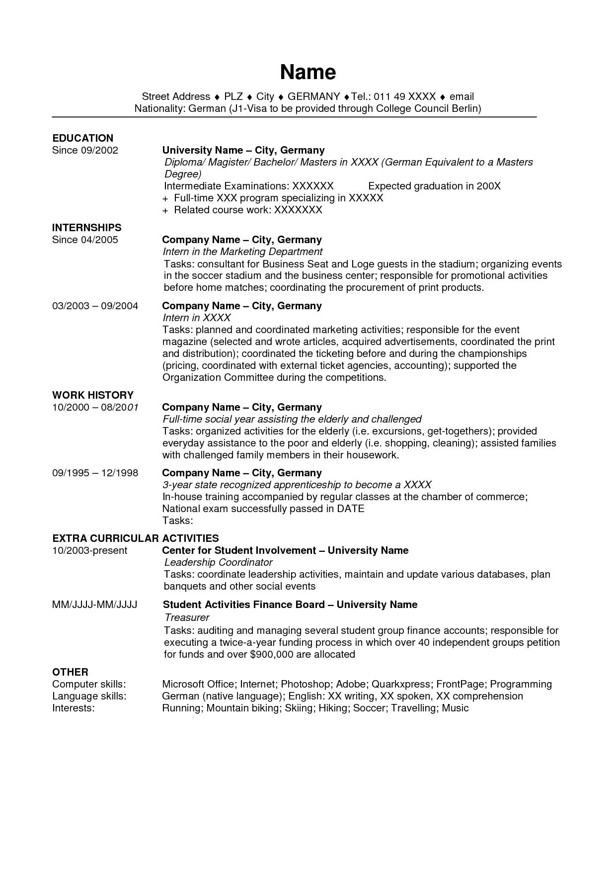 usa sample of resume