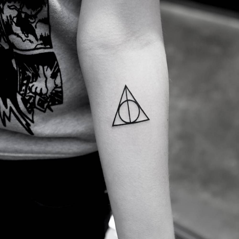Tattoos for men mini deathly hallows symbol tattoo on the left inner forearm  symbolic