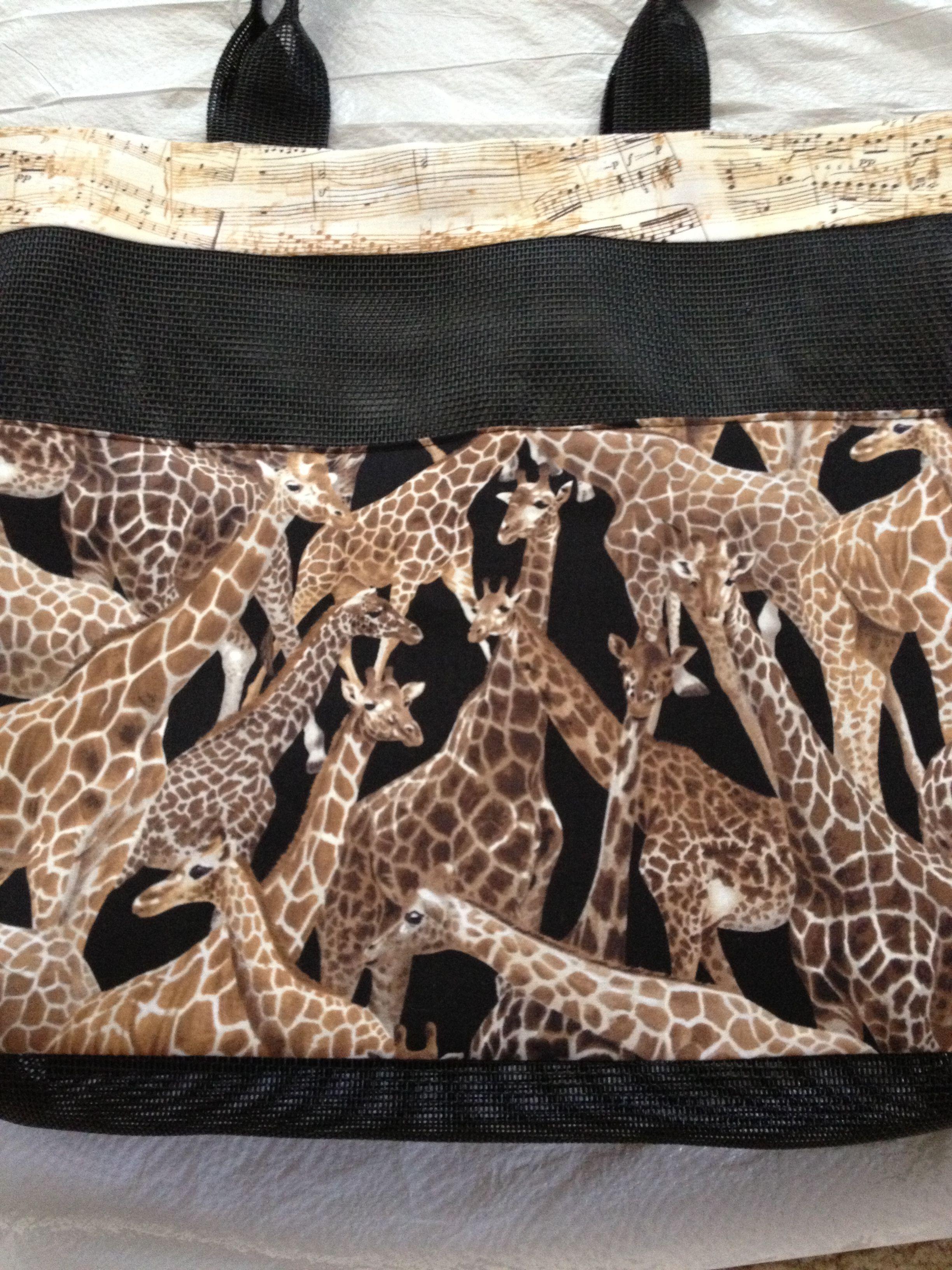 OC High School of the Arts OShop handmade totebag. Giraffes