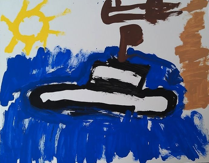 """Submarine"" (Nikhil, 5 yrs, watercolors). My son was into submarines for a period of time, and took to painting them on a daily basis. This is one of my favorite paintings of his."