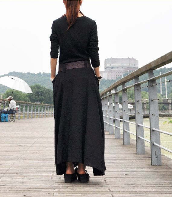 Black linen dress full length maxi dress big by Dressbeautiful