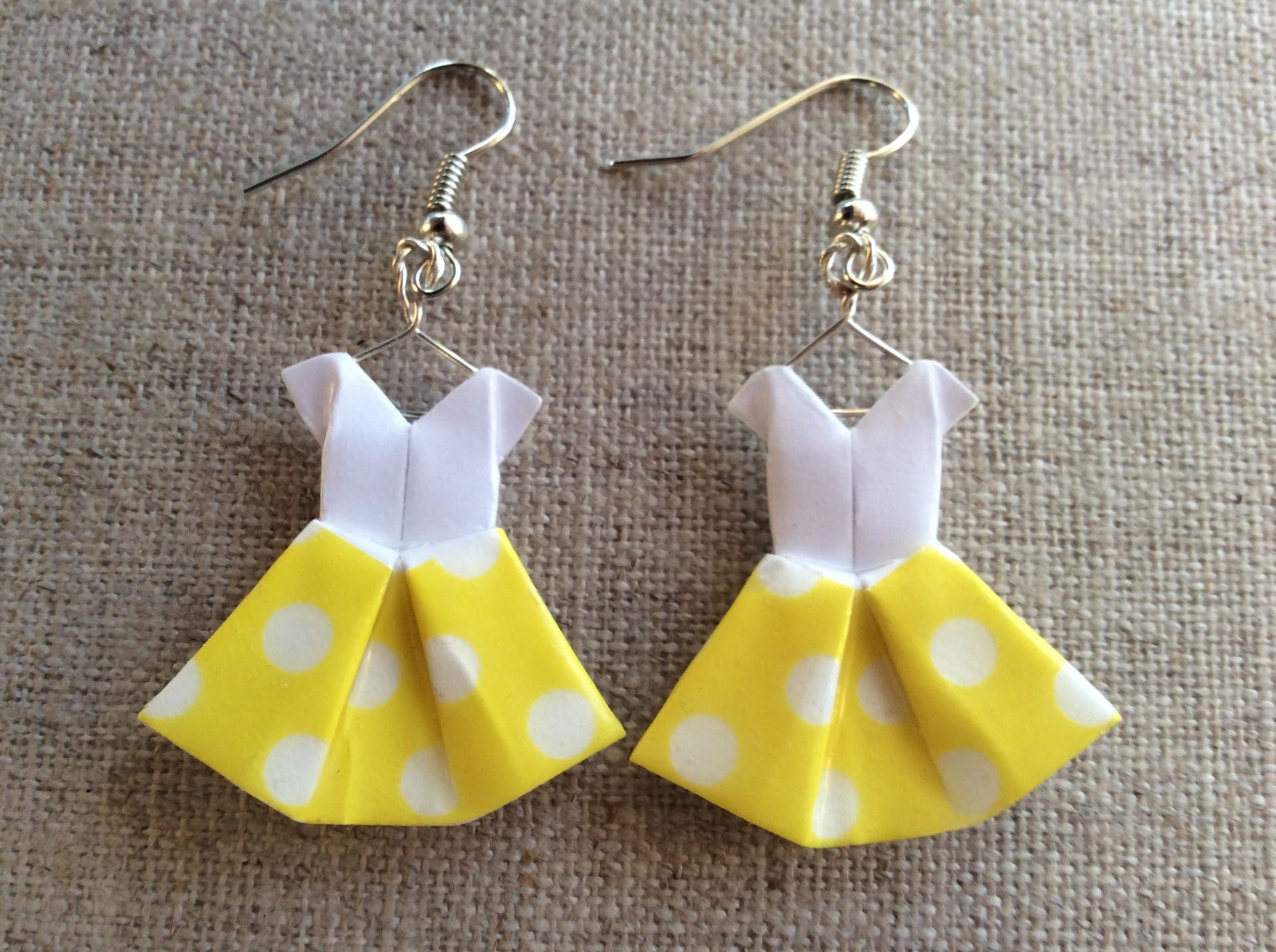 Boucles d 39 oreille robes en origami washi tape jaune - Robe en origami ...