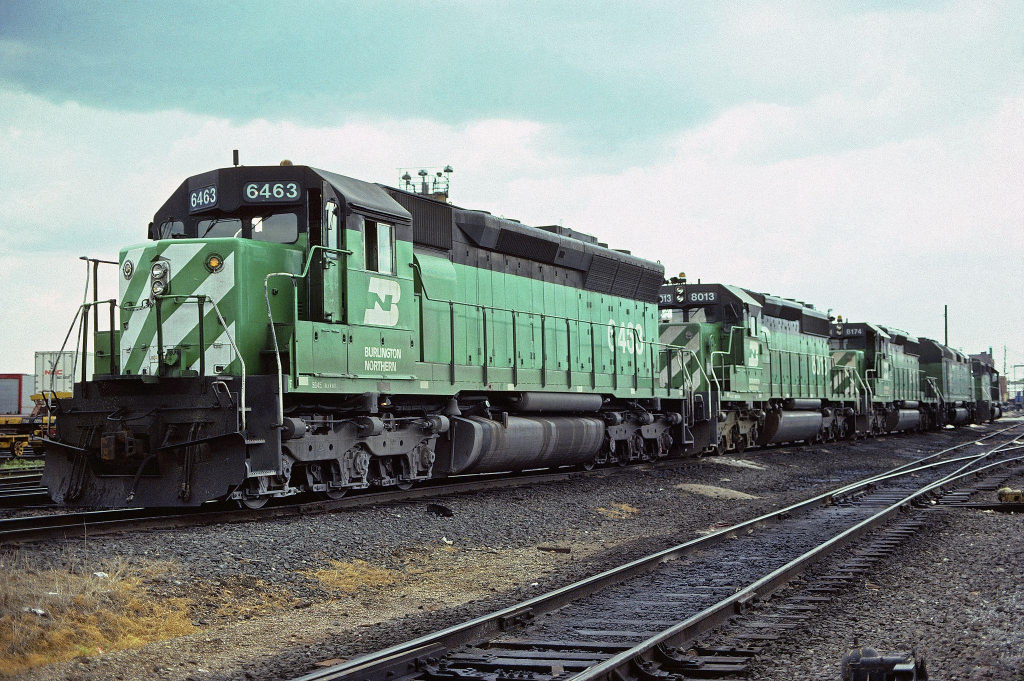 https://flic.kr/p/xrj947 | BN SD45 6463 | Burlington Northern Railroad SD45 6463 at Clyde, Illinois on June 21, 1982, Kodachrome by Chuck Zeiler.