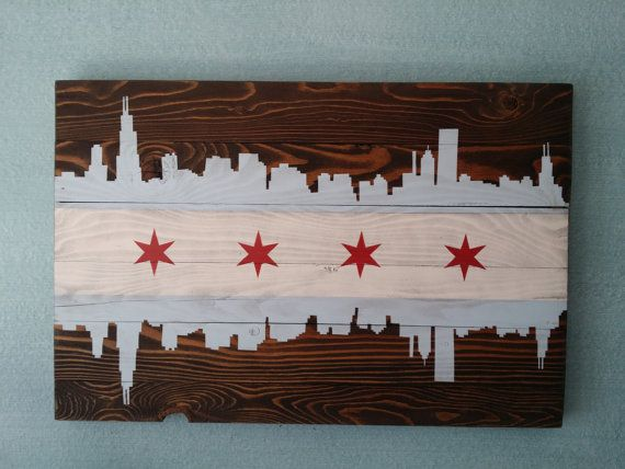 Chicago Wall Art chicago skyline vintage style wood flag | chicago, flags and walls