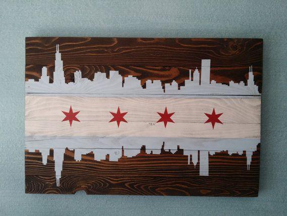 Chicago Skyline Vintage Style Wood Flag Home Decor Chicago Art