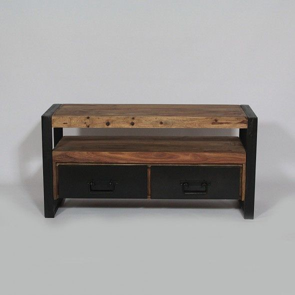 Meuble tv industriel 2 tiroirs en bois de palissandre salons industrial and vintage - Meuble tv bois industriel ...