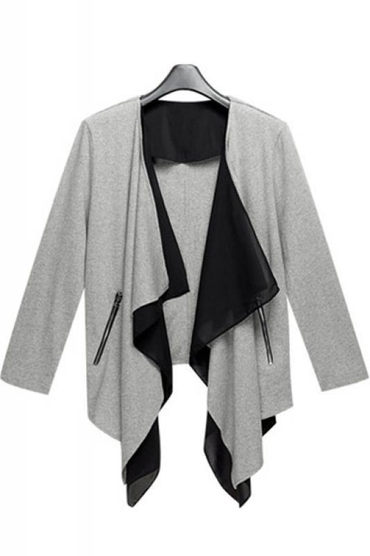 Love Love LOVE the Layered Fabric! Grey Irregular Draped Collar Knit Cardigan Outerwear