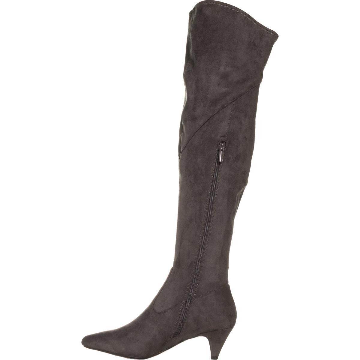 Impo Edeva Over The Knee Kitten Heel Boots Steel Grey Boots Kitten Heel Boots Kitten Heels