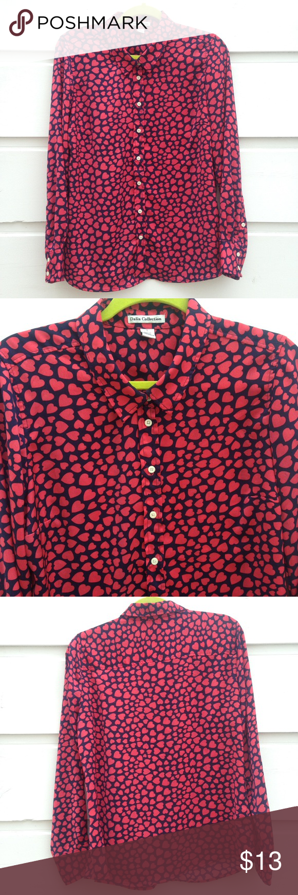 dalia collection hearts blouse  d tops and heart print - dalia collection hearts blouse
