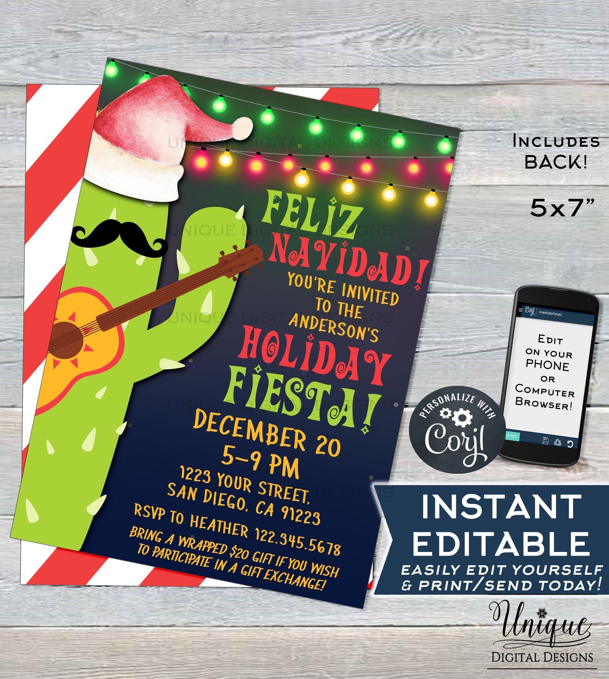 Editable Feliz Navidad Invitation Holiday Fiesta Invitation Mexican Christmas Taco Bout A Party Printable Template Instant Access 5x7 Fiesta Invitations Mexican Christmas Christmas Invitations