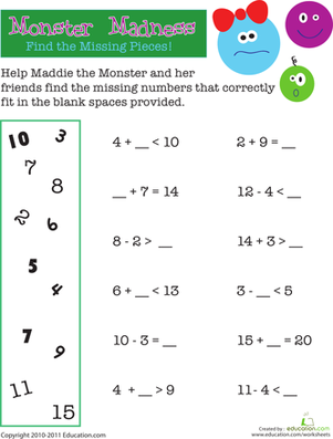 Math Monster Madness Worksheet Education Com Addition And Subtraction Worksheets Math Worksheets Kids Math Worksheets