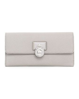 4066f872bfb9c Hamilton Large Flap Wallet - Micheal Kors  148.00 Pearl gray saffiano  leather.