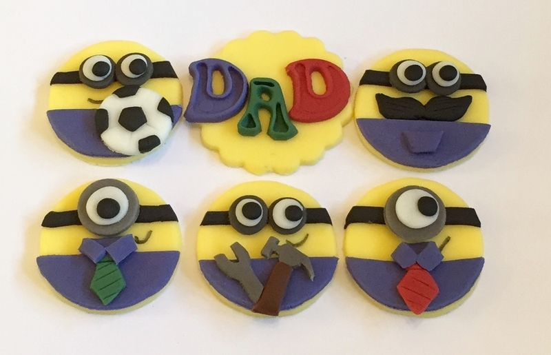 8 x icing fathers day dad minion cupcake toppers 4740