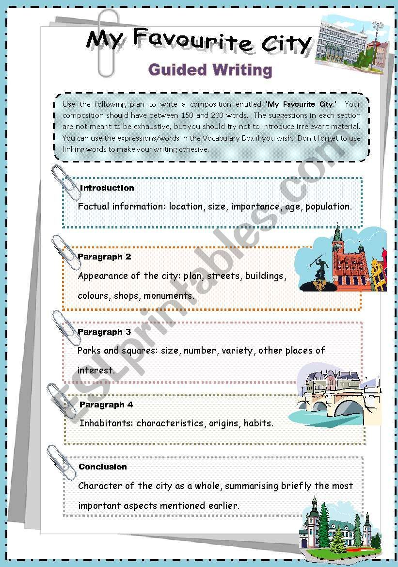 This Writing Worksheet Includes Ideas That Sts Can Include In The Different Paragraphs A Vocabulary Box Room Guided Writing Writing Worksheets Favorite City [ 1169 x 821 Pixel ]