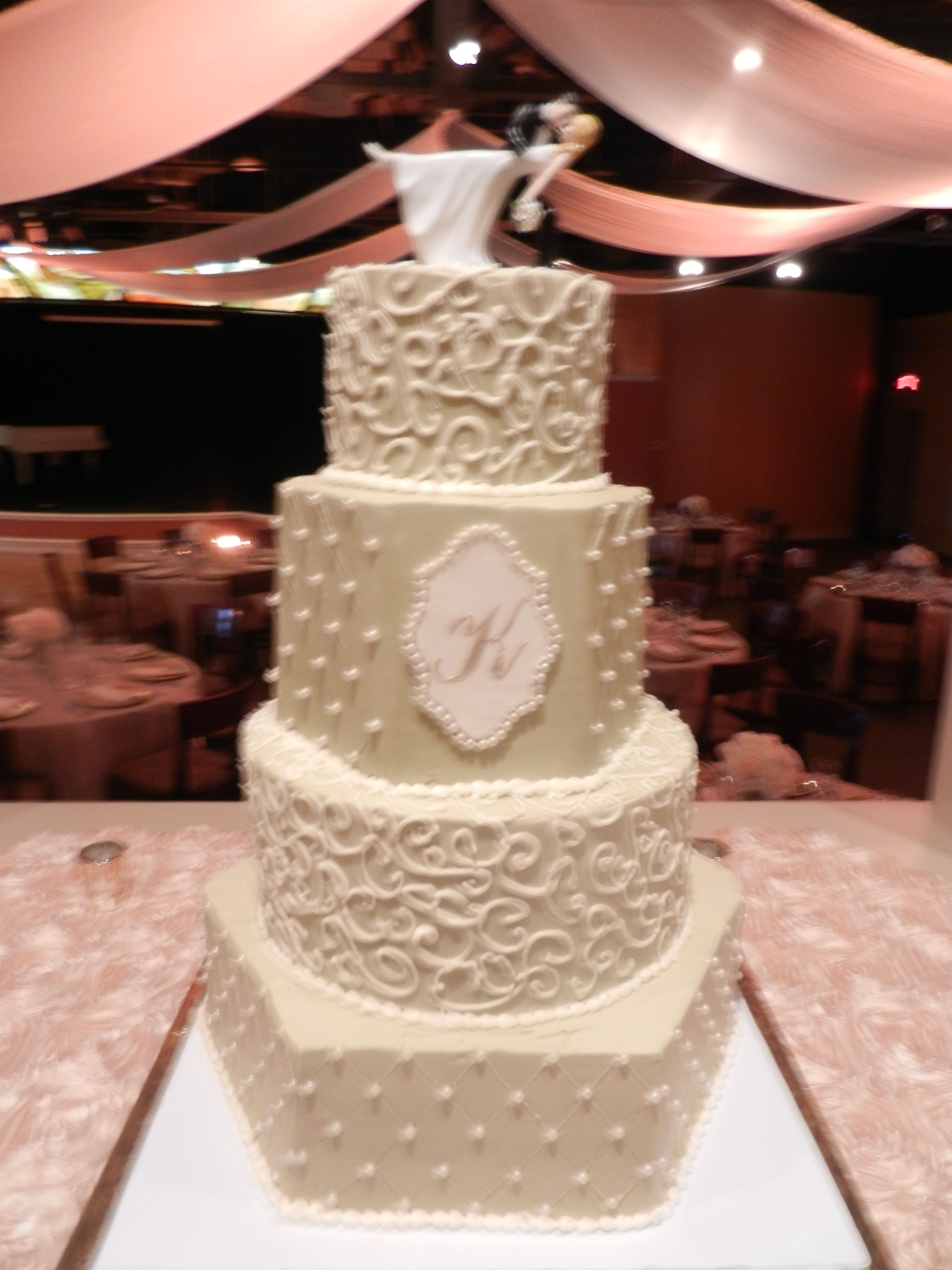Www.cheesecakeetc.biz Wedding Cakes Charlotte NC Champagne Hex Wedding Cake  With Monogram