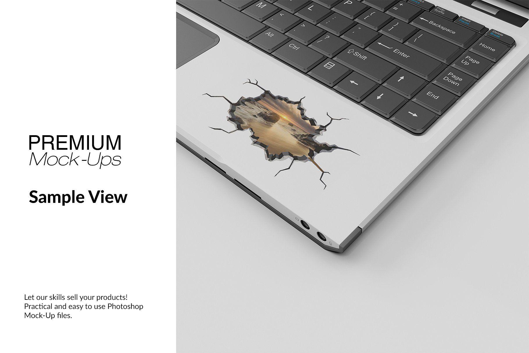 Laptop sticker mockup viewsobjectsresolutionsmart laptop stickers print design