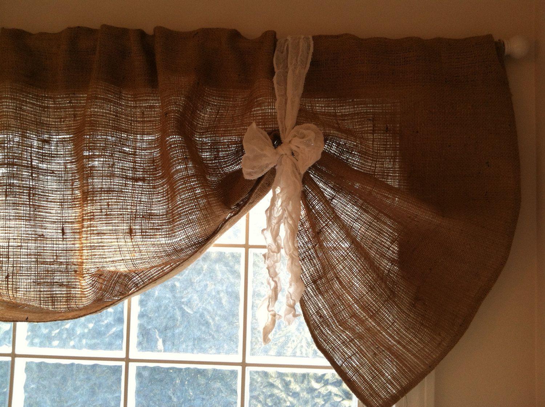 Kitchen nook window treatments  burlap valance hemington style by frichie on etsy billie jo