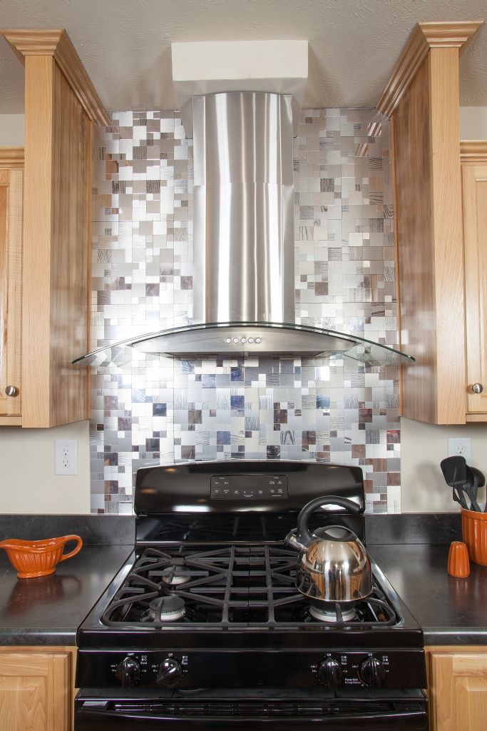 The Kitchen In The Sabre   Grandville LE Modular Ranch Home   A Great  Hickory Cabinet Kitchen   Featuring This Great Stainless Steel Range Hood  And A Full ...