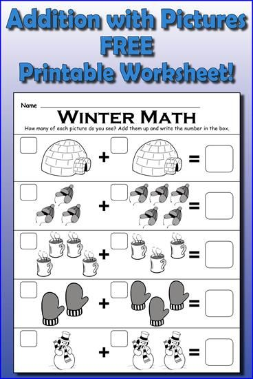 Winter Themed Addition With Pictures Math Worksheet Winter Math Worksheets Kindergarten Worksheets Beginning Math Free kindergarten winter math worksheets