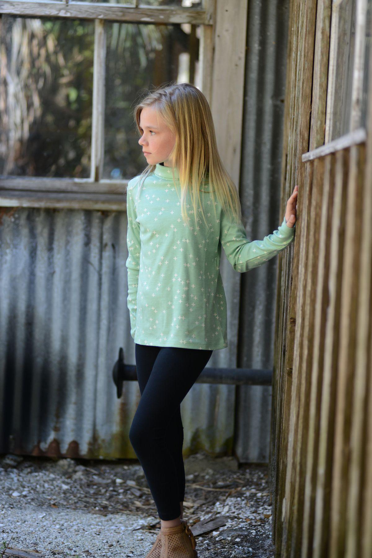 organic cotton childrenus long sleeve turtleneck t shirt mint