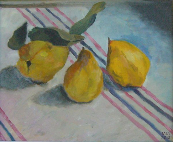Quinces on Striped Cloth by Mary MacCarthy [oil on board]