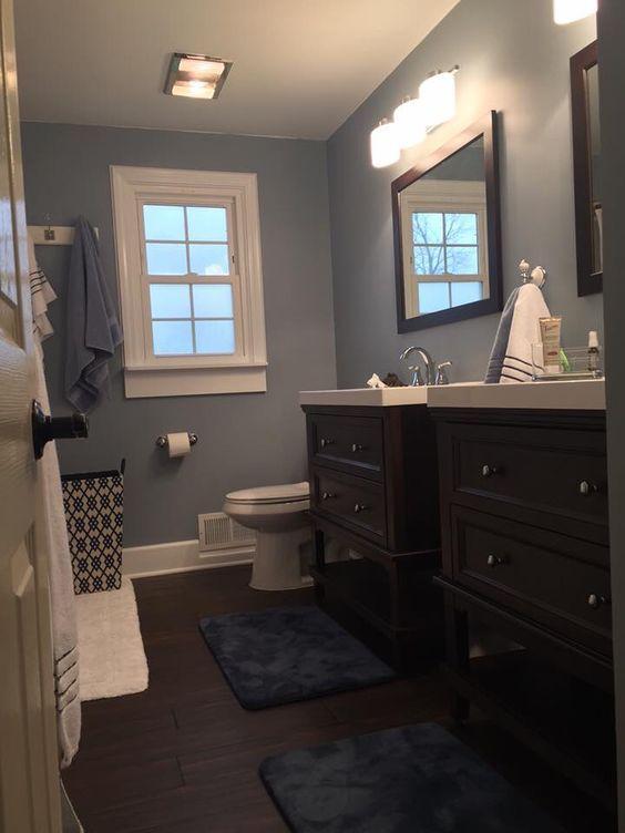Pin von Pat auf Bad | Badezimmer blau, Blau grau badezimmer ...