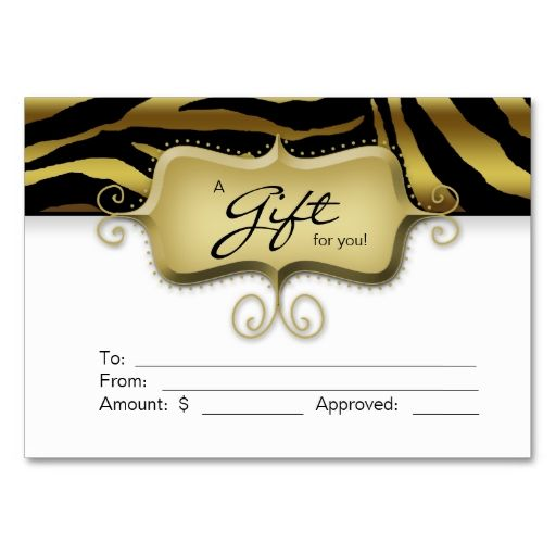 Salon Gift Card Spa Zebra Animal Gold Black Black business card - gift voucher format