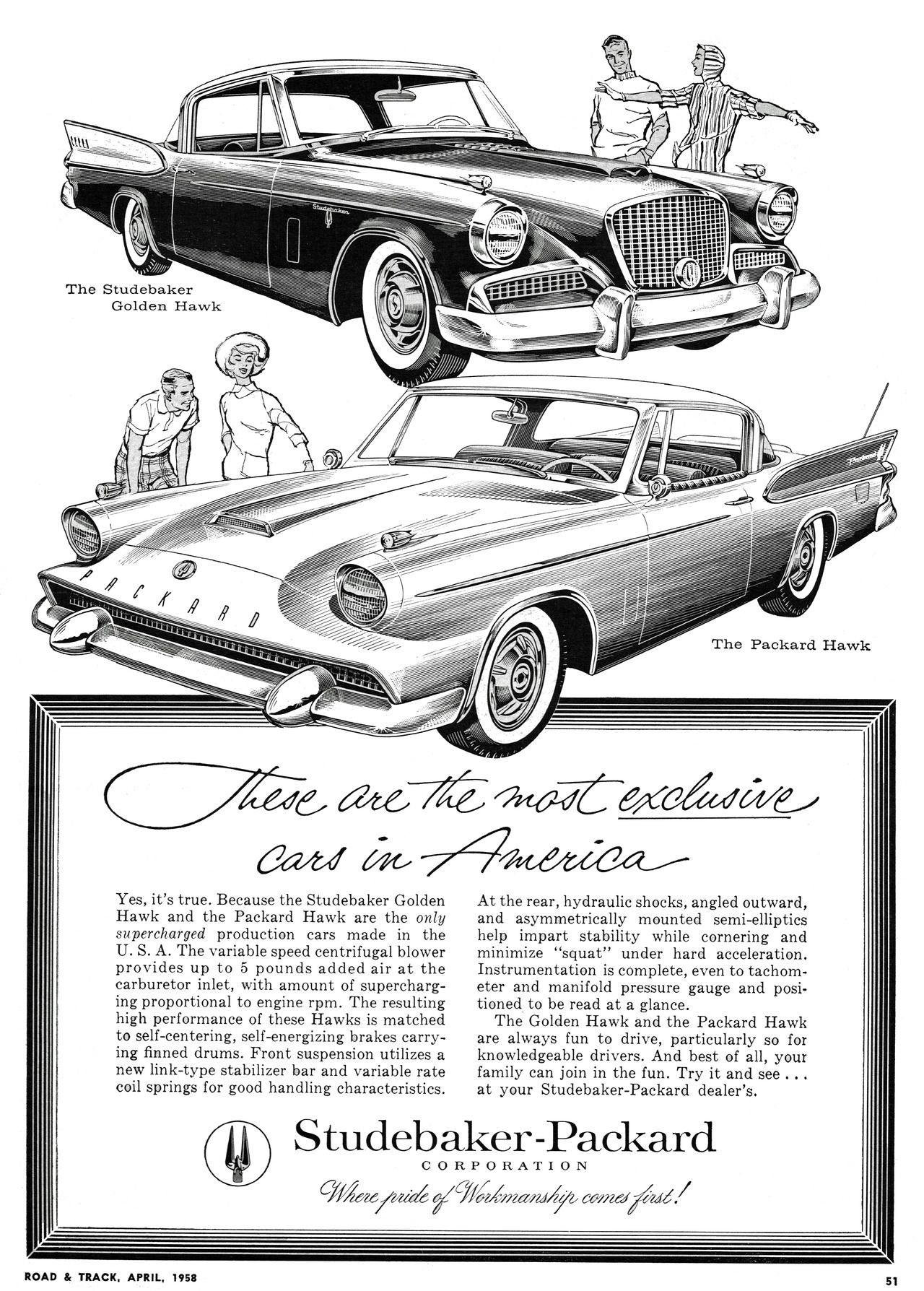 1958 Studebaker and Packard Hawks advertisement from Road & Track Magazine (April 1958). This dates from the period of the short-lived merger between the two as independent companies. The Packard brand was soon retired, and this was its last model.