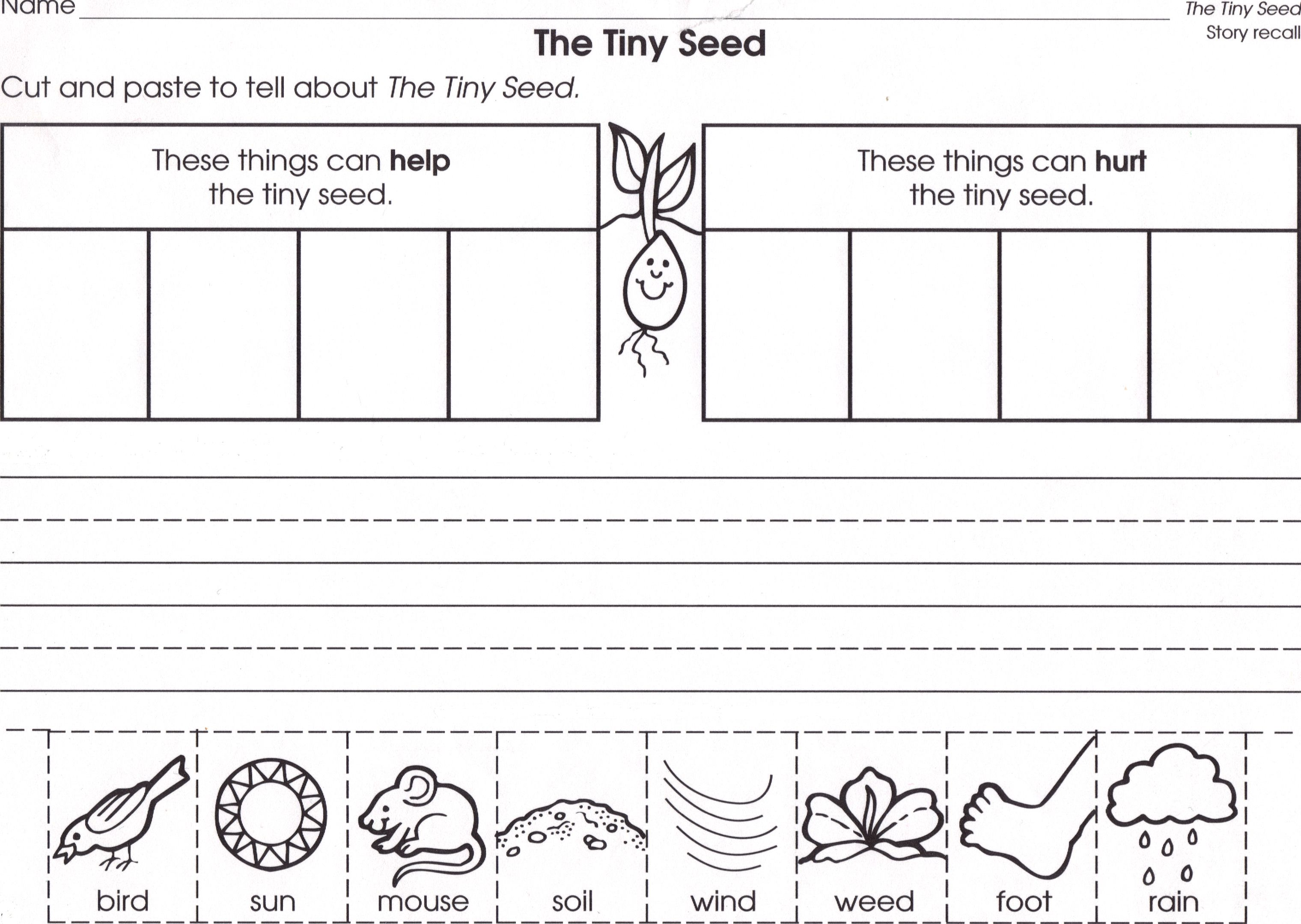 worksheet The Tiny Seed Worksheets seeds and plants a science unit for k books companions tiny seed needs worksheet