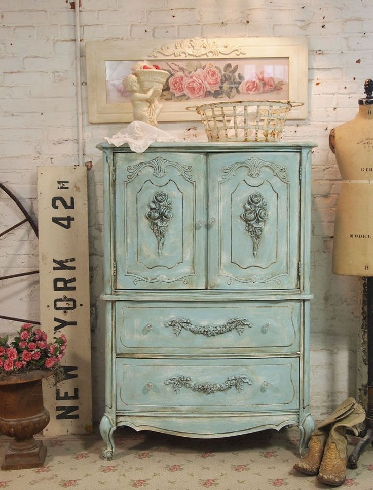 Vintage cottage furniture vintage blue painted cottage chic shabby white painted white - Muebles shabby ...